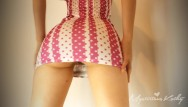 Hottie upskirt Mini dress upskirt no panties booty shake