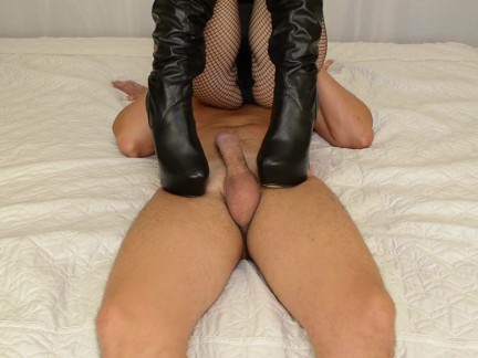 High heels mistress milking her slave - Femdom handjob, heeljob, blowjob