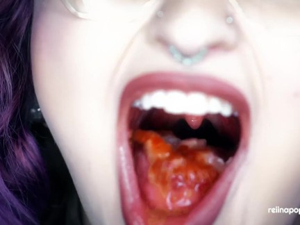 4K Red Berries ASMR - Mouth Sounds + Mastication