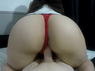 WATCH THIS HOT AMATEUR RIDE REVERSE COWGIRL POV(RED THONG SILVER SATIN TOP)