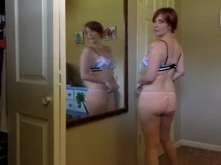 Cute all natural Milf tries on new panties for you – Voyeur