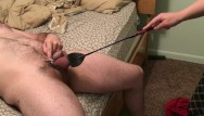 Cock and ball locks Ball slapping my chastity locked husband with riding crop