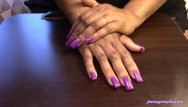 Chinese fetish long nail Long nails: violet vibes and lotion