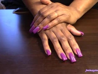 Long Nails: Violet Vibes and Lotion
