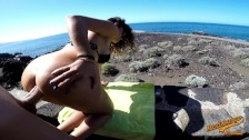 Amateur ANAL sex on the beach OUTDOOR - Big natural tits MadeInCanarias