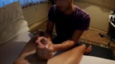 Helping hand for friend (jerking, balls massage, cum tasting)
