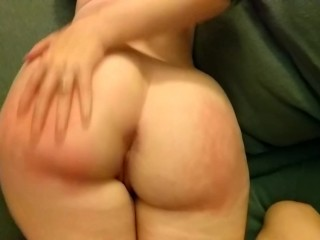 Thick booty gets spanked until red and then cummed on.