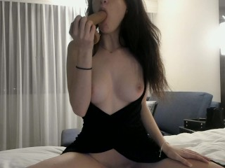 Getting Frisky in a Hotel, Sucking a Dildo and Undressing ♡