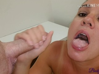 Naughty MILF drains a cock in Macy's dressing room