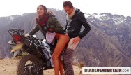 Motocycle hot chick sex - Quickie in the cold mountains after motocycle trip