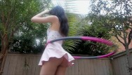 Upskirt tranny tube - Hula hooping with no panties tons of upskirt