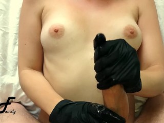 Beautifull greek milf strokes for cumshot in black gloves ~DirtyFamily~