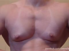 Pec Flexing, FBB Posing and Hot Masturbation - Muscle Girl ANOUK