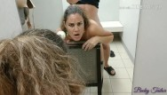 Leather dress fucking Quickie public fuck in j.c. penney dressing room