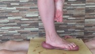 Domination trampling Barefeet cock and balls crush - cbt trample