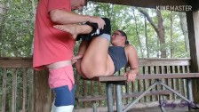 """MILF in yoga pants getting fucked on picnic table - """"DON'T GET CAUGHT!"""""""
