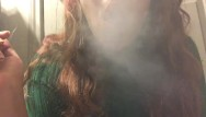 Tits in sweaters - Sexy chubby teen with hot big tits in sweater smoking cork tip cigarette