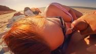 Fucking my nose Cum on my nose sun glasses risky amateur redhead public beach quick bj