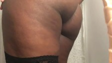 Ebony Pumps and Teases Engorged Clit