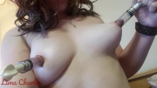 Fun With Nipple Suckers and Two Pairs of Clover Clamps