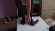 Nylon foot bondage Cbt and femdom trampling with black nylon