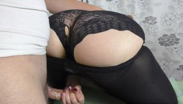 Amateur Teen Big ass Handjob in Pantyhose