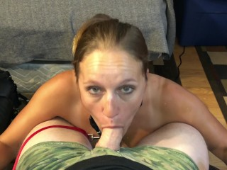 MILF Whore leashed up sucking cock on knees in 4K facial blast the slut TX