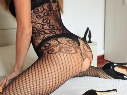 Sexy Teen in Fishnet Fucks Her Tiny Ass with a Dildo Until She Squirts