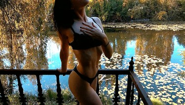 Quickie, Blowjob and Slow motion cumshot at the Lake - Hot skinny girl POV