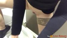 Masturbation and pissing in the public toilet