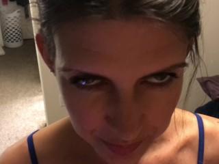 Homemade POV MILF blowjob facial before bedtime