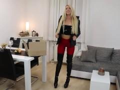 Blonde German in Black Puffy Jacket Sex