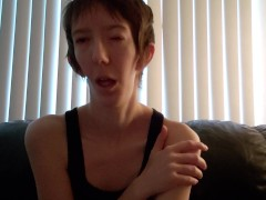 Disabled woman whispers about pleasure and tortures tits