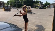 Chubbys girls in skirts and heels - Wife in mini skirt high heels flashing great ass at outdoor carwash