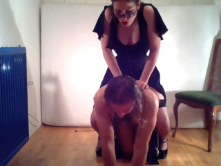 Dominatrix trains slave for the first time, orgasm riding dildo on his back
