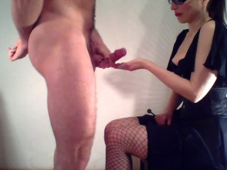 Dominatrix peggs her slave and makes him eat his cum EvilKitties