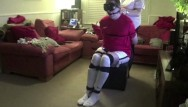 Girdle bondage gag Male strictly bound gagged and hogtied in football kit