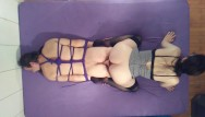 Dildo up my ass Pegging my tied up slave boy with my pussy bondage