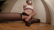 Jay lane ripping cock out of tights and jerking off onto their feet