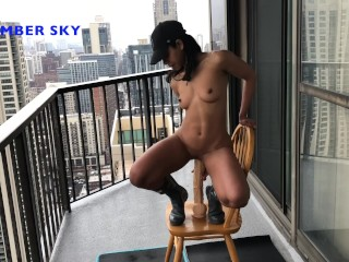 AMBER SKY RIDES BIG JACK & PURPLE DILDO IN ASS OUTSIDE ON BALCONY