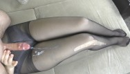 Granny sexy pantyhose handjobs Step sis teen handjob - cum on legs in sexy pantyhose