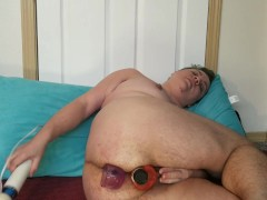 Chubby ftm wears himself out: DP, squirting, and pussy stretching