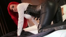POV Wank over Tight Leather Dominatrix Skintight Corset Roxi Keogh