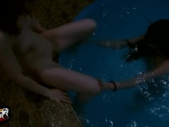 Two Chicks And One Fellow Plow In The Pool. Our Very First Movie - Redplanetlust