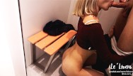 Dress teen My girlfriend fucking in the shop/dressing room and suck my dick. public bg