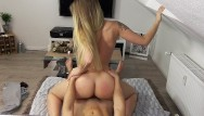 Female spontaneous orgasm Blonde amateur rides reverse to creampie orgasm pov