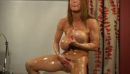 Oil hardcore - Busty bodybuilder oil bath