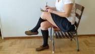 Strip club regular spenders recession Cum on schoolgirls socked foot during recess shoefuck and sockjob