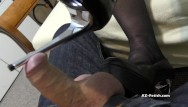 Handjob with cumshoot - Shoe job and high heels job until cumshoot on feet and shoes