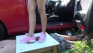 Sneaker sex Pink sneakers trampling upon manhood
